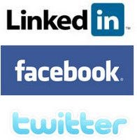Linked In, Facebook and Twitter logos.